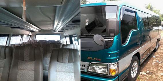 Sewa rental Elf 19 / 20 seats penumpang Long chasis di depok jakarta